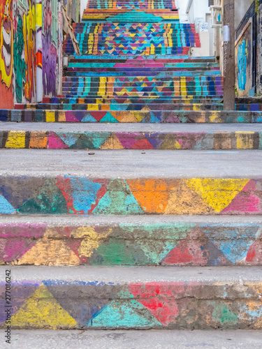 Tableau sur Toile View of the famous Mar Mikhael painted stairs in Beirut, Lebanon