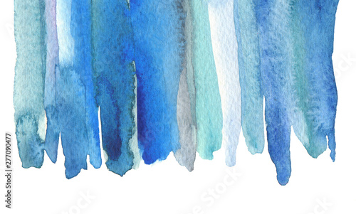 Abstract watercolor and acrylic line brush stroke blot painting. Blue, turquoise Color design element. Texture paper. Isolated on white background.