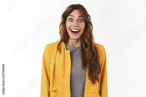 Speechless fascinated cute female fan girl open mouth drop jaw impressed smiling Fototapeta