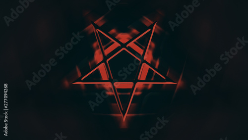 The Pentagram symbol, composed of five, straight lines to form a star Canvas Print