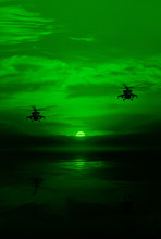 Combat Helicopter Against The Moonlit Sky, The View Through A Night Vision Device