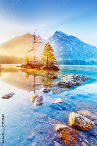 Obraz Germany, lake Hitnersee. Charming view of sunrise mountain lake Hintersee in Germany. Vertical orientation photo landscape. - fototapety do salonu