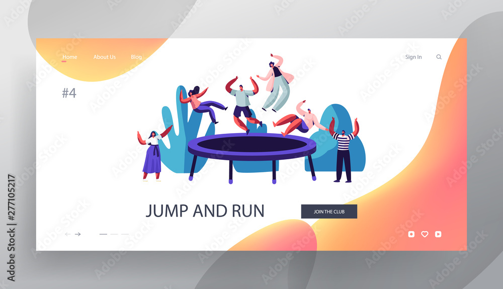 Fototapety, obrazy: People Jump on Trampoline Website Landing Page, Outdoors, Fitness Center, Summer Time Attraction, Leisure, Sports Acrobatics Training, Entertainment Web Page. Cartoon Flat Vector Illustration, Banner