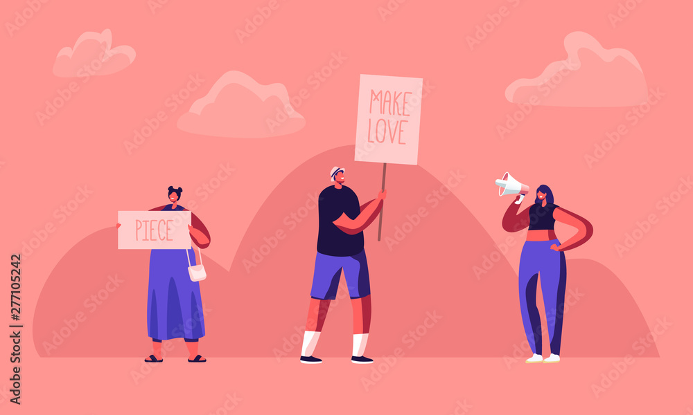 Fototapety, obrazy: Hippie Male and Female Activist Characters with Banners for Love and Piece, Riot, Picket. Protesting People with Placards and Signboard on Strike or Demonstration, Cartoon Flat Vector Illustration