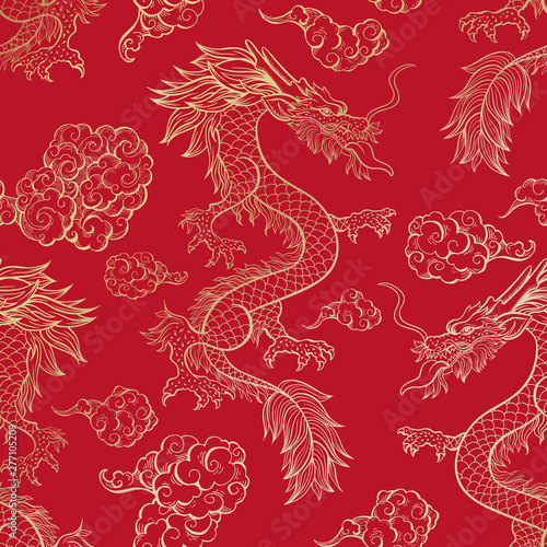 fototapeta na drzwi i meble Oriental dragon flying in clouds seamless pattern. Traditional Chinese mythological animal hand drawn illustration. Golden festival serpent on red background. Wrapping paper, wallpaper, textile design