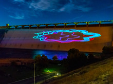 Light Show Projected Onto Dam