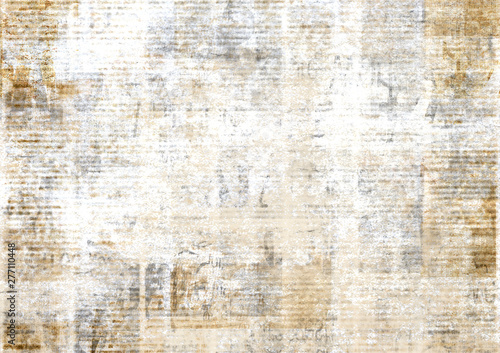 Tuinposter Retro Old vintage grunge newspaper paper texture background.