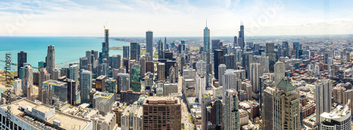 Chicago city skyscrapers panorama, blue sky background Wallpaper Mural