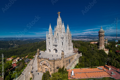 Foto op Canvas Barcelona Barcelona, Spain - April, 2019: Church of the Sacred Heart of Jesus,located on the summit of Mount Tibidabo in Barcelona, Catalonia, Spain