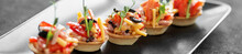Delicious Salad In Tartlets. Concept Of Food, Restaurant, Cateri