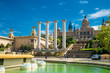 BARCELONA, SPAIN - April, 2019: View at the fountains at the Palau Nacional, a palace constructed for the 1929 International Exhibition in Barcelona