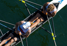 Two Male Rowers In A Double Ra...