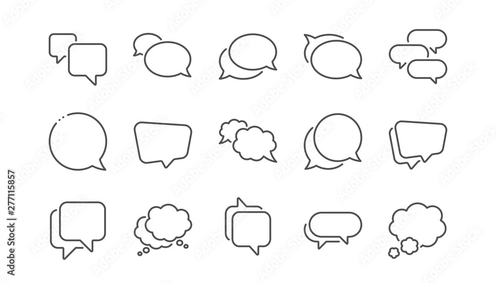 Fototapety, obrazy: Speech bubbles line icons. Social media message, comic bubbles and chat. Think sticker, Comment speech and talk bubble icons. Linear set. Vector