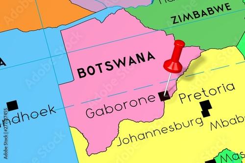 Cuadros en Lienzo  Botswana, Gaborone - capital city, pinned on political map