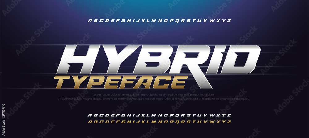 Fototapeta Sport Modern Italic Alphabet Gold Font. Typography 3D urban style silver and golden fonts for technology, digital, movie logo design. vector illustration