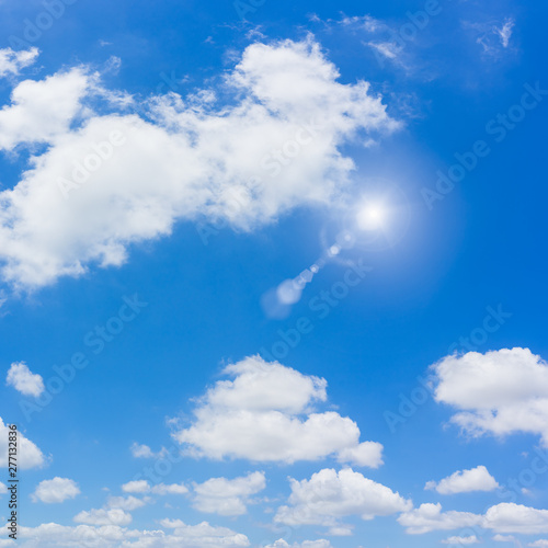Blue sky and clouds natural background. Wall mural