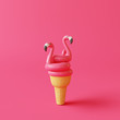 canvas print picture - Ice cream cone with flamingo float on pink background. Creative idea. Minimal concept. 3d rendering
