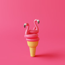 Ice Cream Cone With Flamingo Float On Pink Background. Creative Idea. Minimal Concept. 3d Rendering
