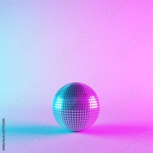 Fotografie, Obraz Disco ball with neon light. 3d rendering