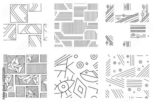 Set of seamless vector pattern, black and white geometric background with rhombus, triangles, rectangles, dots, lines, squares Canvas Print