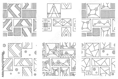 Set Of Seamless Vector Pattern Black And White Geometric