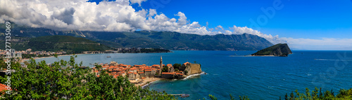 Garden Poster Mediterranean Europe Panoramic view of Budva Old Town with an ancient Citadel and Adriatic Sea with mountains in the background in Montenegro