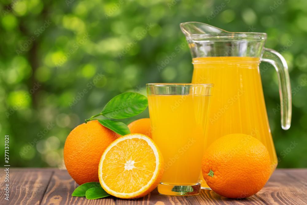 Fototapety, obrazy: orange juice in glass and jug