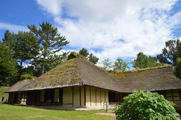 Fototapeta na wymiar 夏の空を背景にした曲屋(まがりや)と呼ばれる古い農家(斜め方向から撮影)