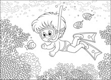 Little Boy Diving With A Mask And A Snorkel Among Funny Striped Fishes On A Coral Reef In A Tropical Sea, Black And White Outline Vector Illustration In A Cartoon Style For A Coloring Book