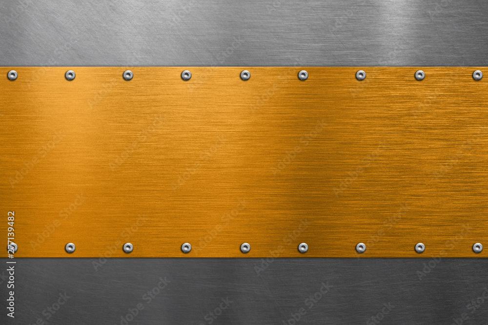 Fototapety, obrazy: Golden nameplate on steel background