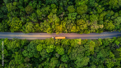 Cadres-photo bureau Route dans la forêt Forest Road, Aerial view over tropical tree forest with a road going through with car.