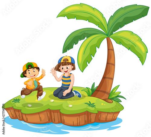 Poster Jeunes enfants Children on island scene
