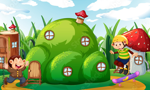 Poster Jeunes enfants Money playing at fantasy land