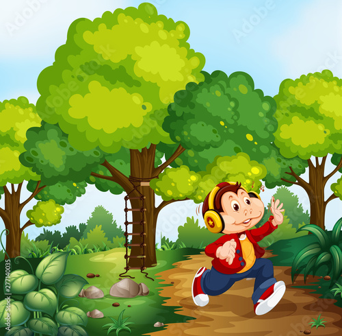 Poster Jeunes enfants Monkey boy in woods scene