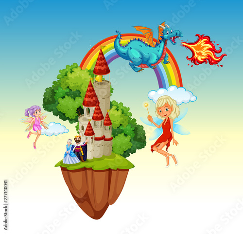 Poster Jeunes enfants Fun fantasy scene background