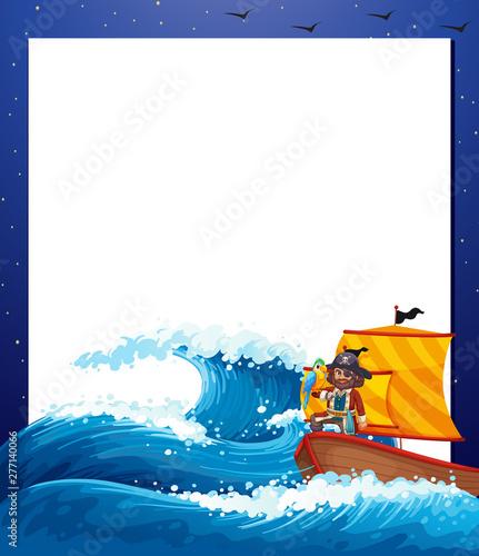 Poster Jeunes enfants Pirate sea border frame