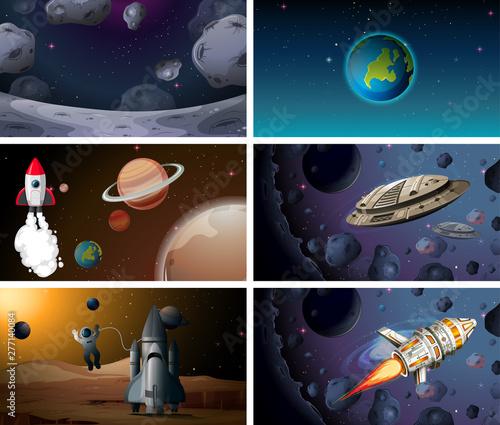 Poster Jeunes enfants Set of space background