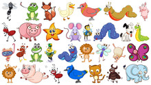 Set Of Simple Animal Character