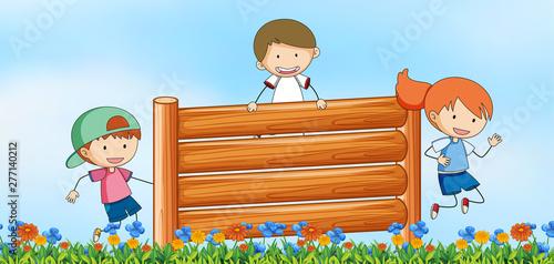Poster Jeunes enfants Kids jumping obstacle in nature background