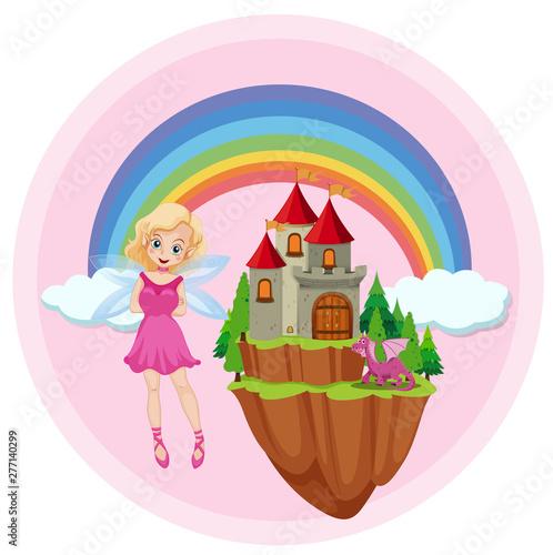 Poster Jeunes enfants Cute fairy and dragon on sky