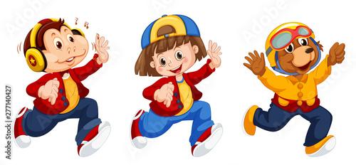 Poster Jeunes enfants Set of cute characters