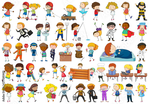 Poster Jeunes enfants Set of simple characters