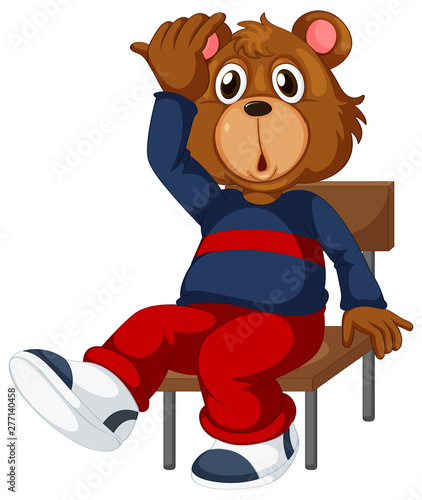 In de dag Kids A bear sitting on a chair