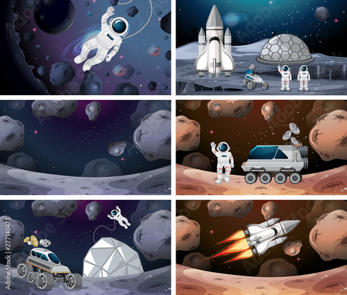 Poster Jeunes enfants Set of different space scenes