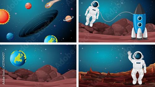 Poster Jeunes enfants Set of astronaut in the space