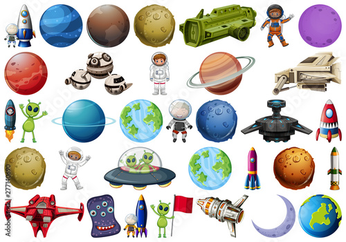 Poster Jeunes enfants Set of space element