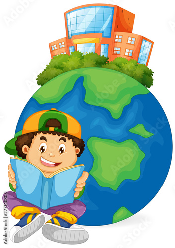 Boy reading book with earth icon