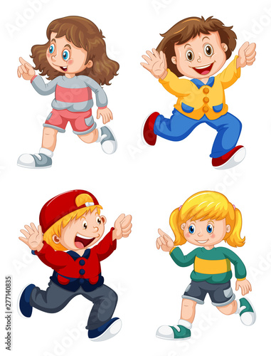 Poster Jeunes enfants Set of happy kids