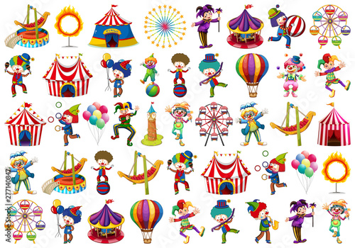 In de dag Kids Set of different circus objects
