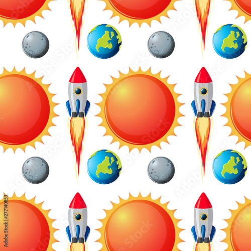Poster Jeunes enfants Seamless space pattern background